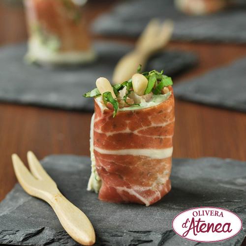 Rotllets de pernil amb vinagreta de Meló