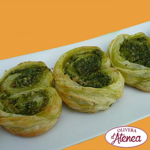 Palmeritas ecológicas y veganas al Pesto Bio d'Atenea