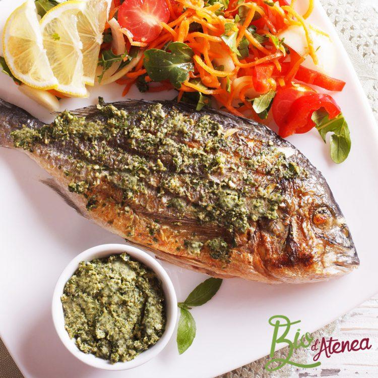 Dorada a la plancha con salsa Pesto Bio d'Atenea, vegana y sin gluten