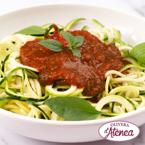 Espaguetis de carbassó amb Boloñesa Vegana