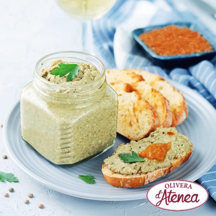 Receta paté de calçots con salsa Romesco Olivera d'Atenea