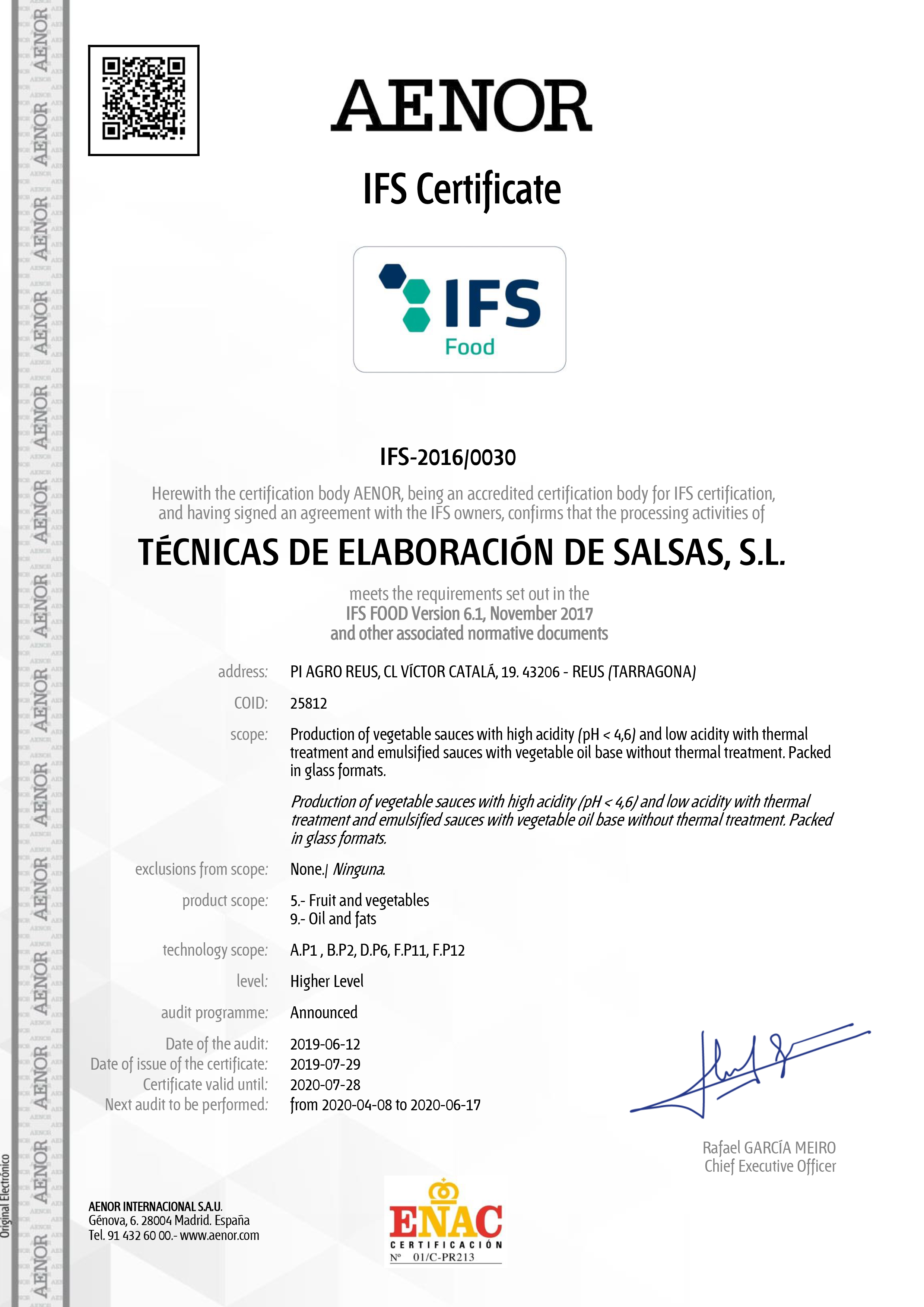 Certificado IFS - 2019-2020