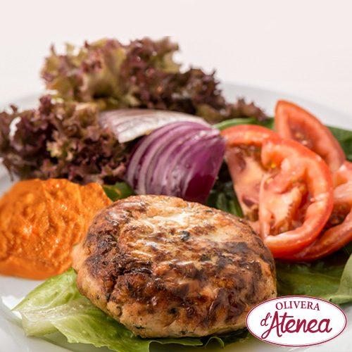 Receta-de-hamburguesa-de-soja-con-Salsa-Calçots-o-Salsa-Romesco-Olivera-d'Atenea
