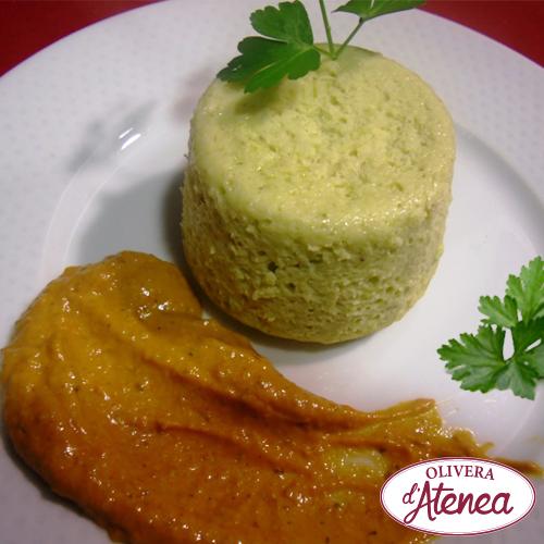 Receta ligera y deliciosa de flan de calçots con salsa romesco