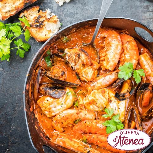 Receta de suquet de pescado y marisco con Romesco Olivera d'Atenea