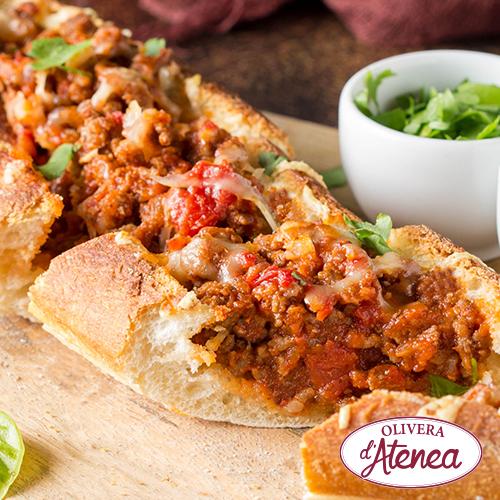 Baguette con verduritas y Boloñesa Vegana Olivera d'Atenea
