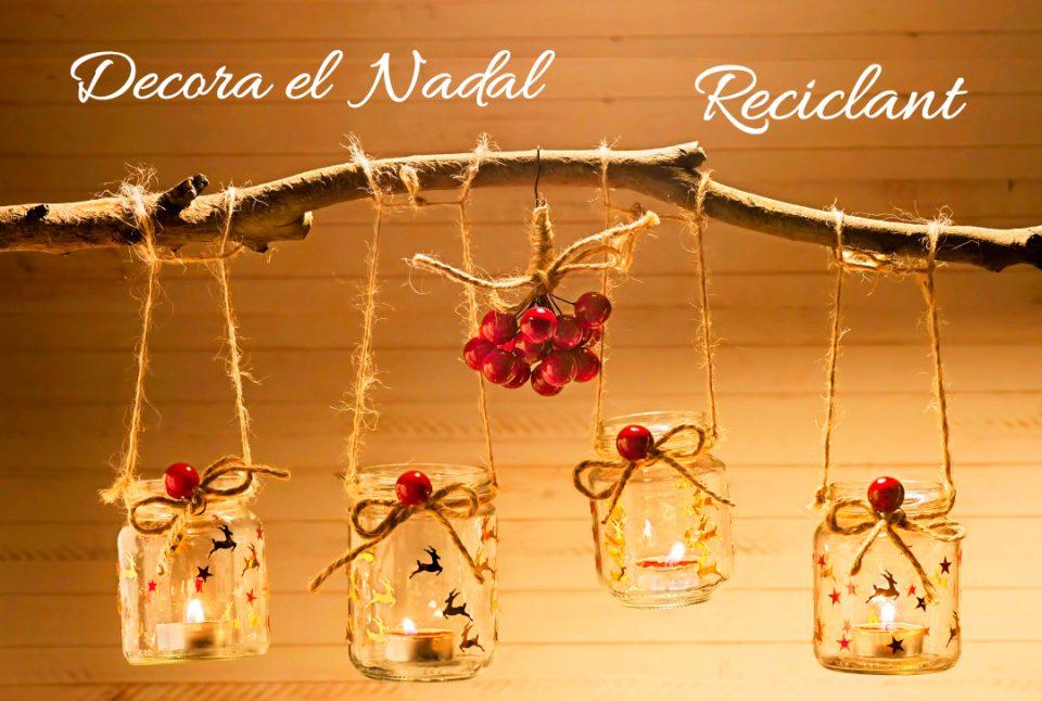 Decoracions de Nadal amb pots de vidre reciclats