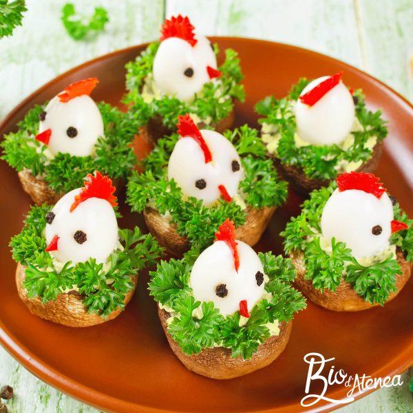Pollitos de Pascua con huevos de codorniz y MayoVegana