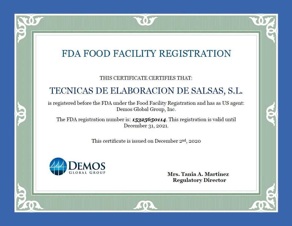 Certificado FDA