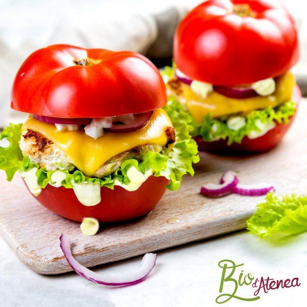Hamburguesa GlutenFree con tomate y MayoVegana