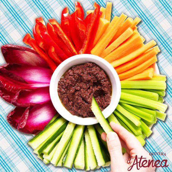 Vegetales multicolor con Olivada