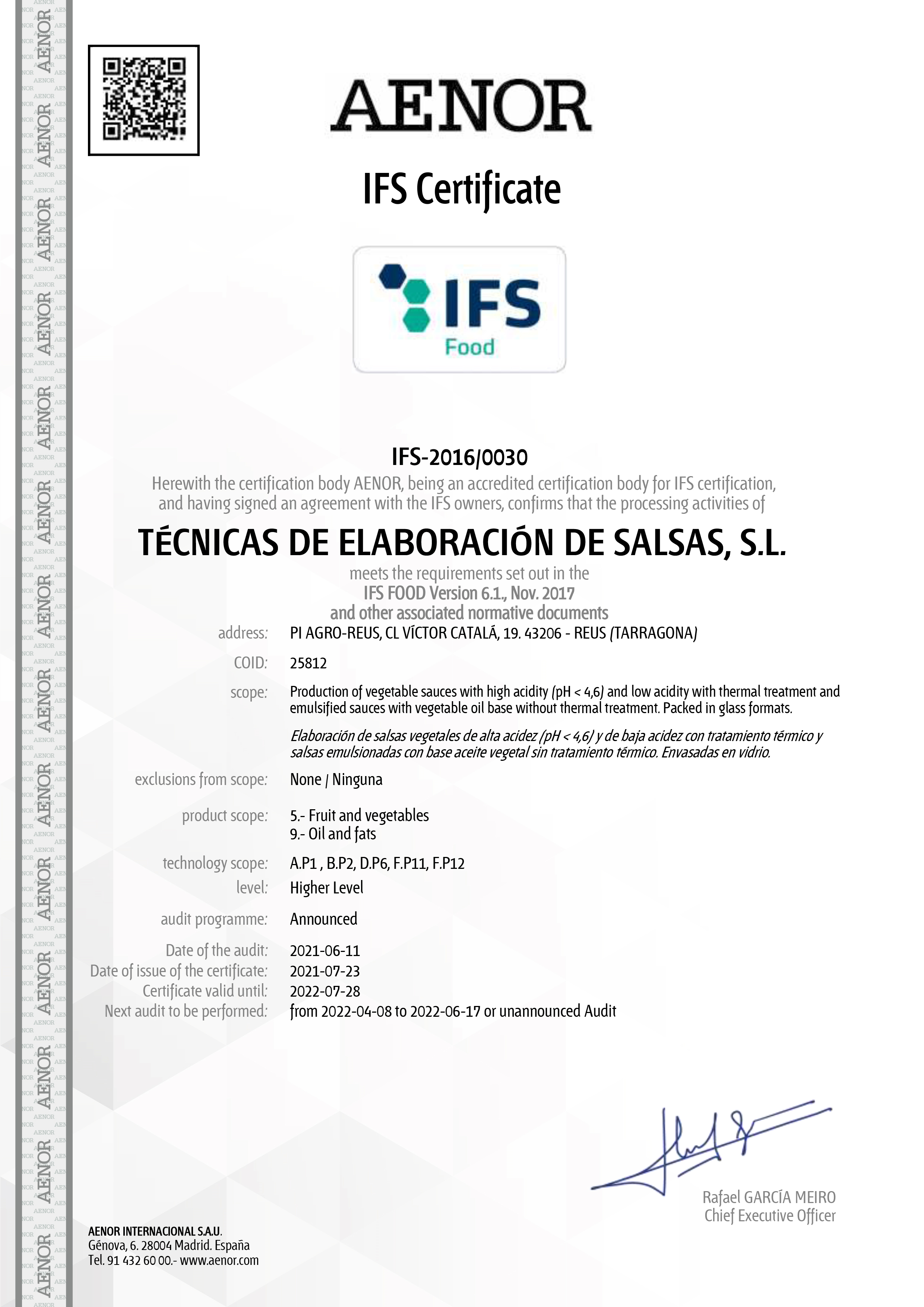 Certificado IFS – 2021 – 2022
